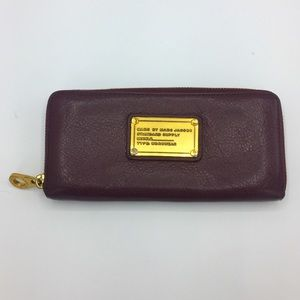 Marc by Marc Jacobs Plum Leather Zip Around Wallet